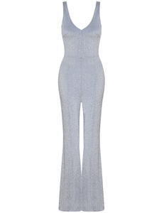Metallic glitter jumpsuit blue