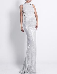 Zilveren gala jurk