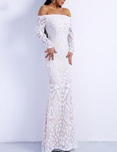 Witte off shoulder gala jurk