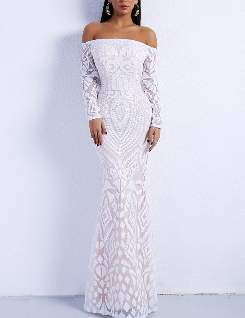 5a149caae63817 Cloozy — Witte off shoulder gala jurk