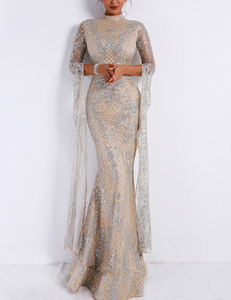 Flared sleeve gala dress silver