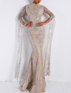 Flared sleeve gala dress silver