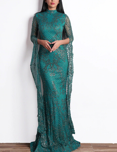 Flared sleeve gala dress green