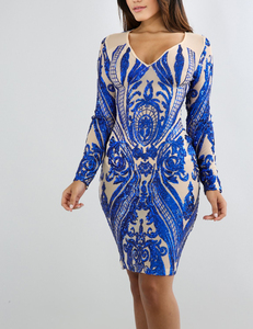 Sheer sequin dress blauw