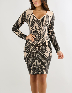 Sheer sequin dress zwart