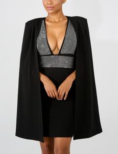 Zwarte rhinestone cape jurk