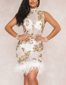Faux feather sequin dress wit