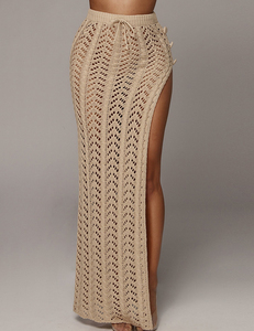 Knitted maxi skirt nude