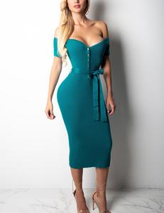Ribbed dress blauw