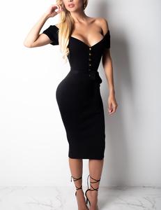 Ribbed dress zwart