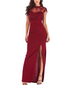 Backless lace dress rood