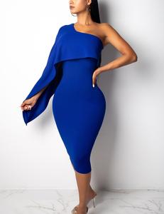 One sleeve midi blauw