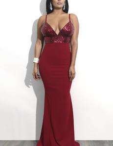 Paillette avond jurk rood