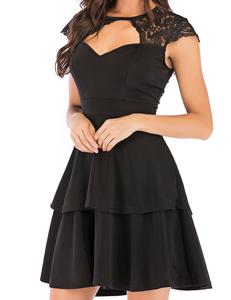 Lace skater jurk zwart
