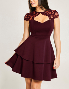Lace skater jurk bordeaux