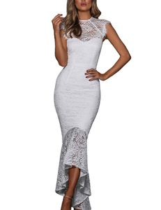 Lace mermaid midi wit