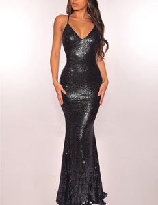 Sequin strappy maxi dress zwart