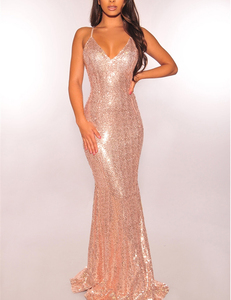 Sequin strappy maxi dress gold