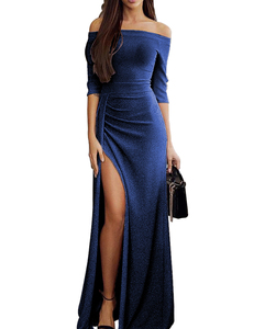 Off shoulder maxi blauw