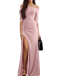 Christmas off shoulder maxi roze