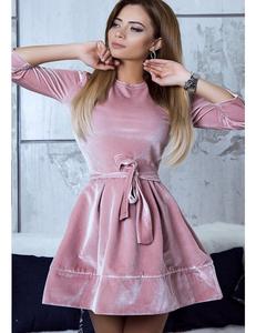 Velvet skater dress roze