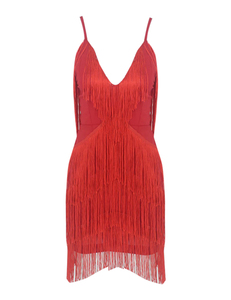 Fringe cocktail dress rood
