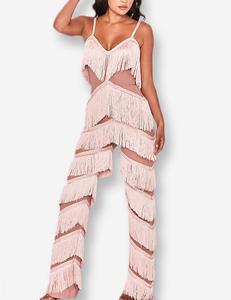 Fringe jumpsuit roze