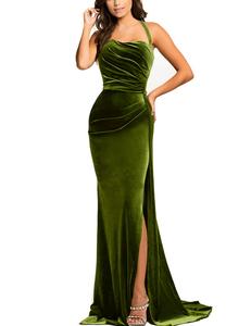 Velvet maxi dress green