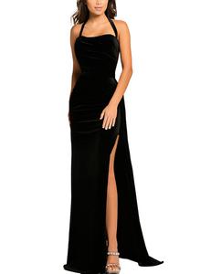Velvet maxi dress zwart