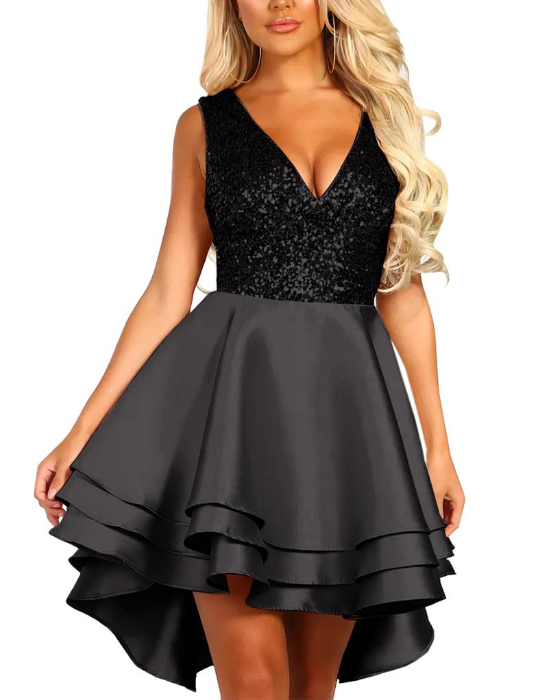 78aa217da491db Cloozy — Pailletten skater jurk zwart