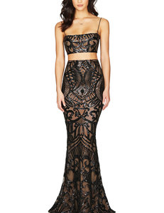 Sequin 2piece gown zwart