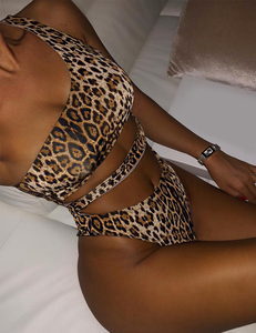 Leopard one shoulder bikini