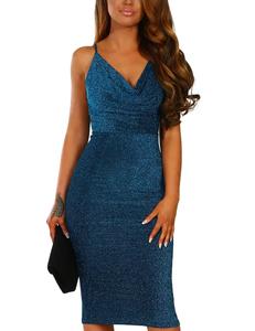 Shimmer midi dress blue