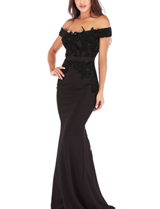 Lace off shoulder gala dress