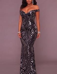 Zwarte zilveren gala jurk