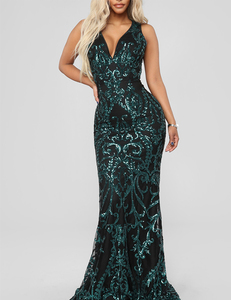 8867828b145fab Groene paillette gala jurk