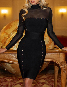 Zwarte stud bodycon jurk