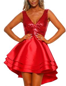 Pailletten skater jurk rood
