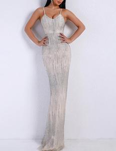 Glitter gala jurk zilver