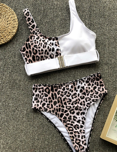 High waist leopard bikini wit